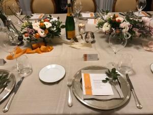La magnifica tavola alla cena Veuve Clicquot Atelier Des Grandes Dames presso  ristorante I Salotti del Patriarca