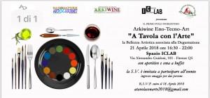 """Invito all'evento """"A tavola con l'arte"""" di Arkiwine"""